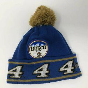 Kevin-Harvick-4-NASCAR-Busch-Beer-New-Era-Toboggan-Knit-Hat-Beanie-Pompom-Blue