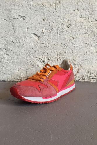 Diadora Heritage Damen Sneaker Exodus C SW Neon Pink Orange Leder Stoff Sale