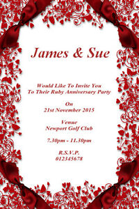 Details About 10 Personalised Ruby Wedding Anniversary Invitations Thank You Cards