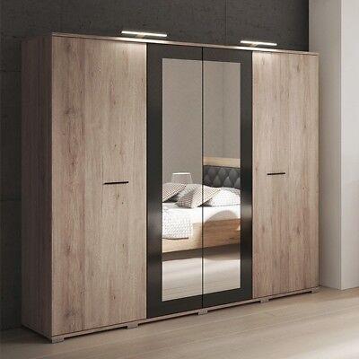 kleiderschrank schlafzimmerschrank bari spiegel schwarz hochglanz elementen 200 ebay