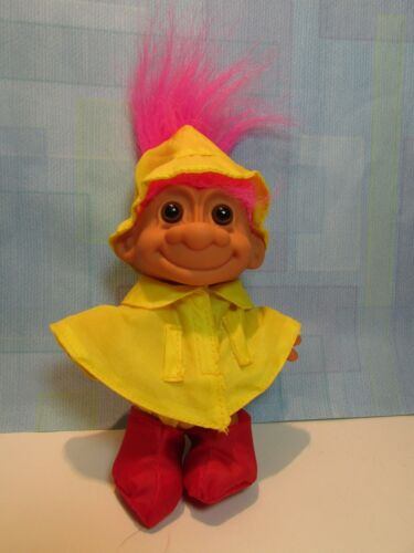 CHILD IN RAINCOAT & BOOTS - 5 Russ Troll Doll - NEW IN ORIGINAL WRAPPER - Rare