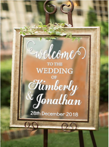 Personalized Welcome Wedding Decal Sign for Mirror Board Removable Name Date