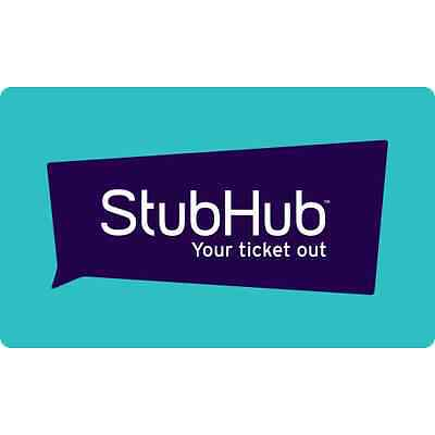 StubHub Gift Card - $25 $50 $100 $150 or $200 - Fast Email delivery