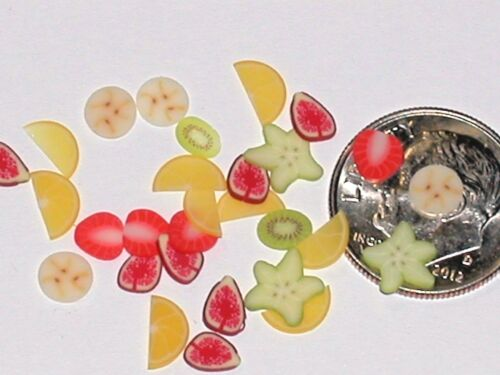 10pc Miniature dollhouse tiny lot strawberry Lemon /& banana MIX fruit slice food