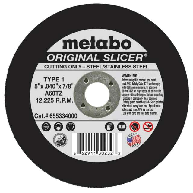 "A36TZ e726 Metabo Original Slicer 3/""x1//16/""x1//8 cutoff wheel for metal 25000rpm"