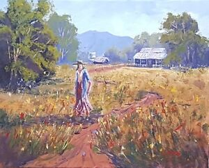 Impressionist-Landscape-Painting-Figurative-Country-Art-Farm-Flowers-Rod-Moore