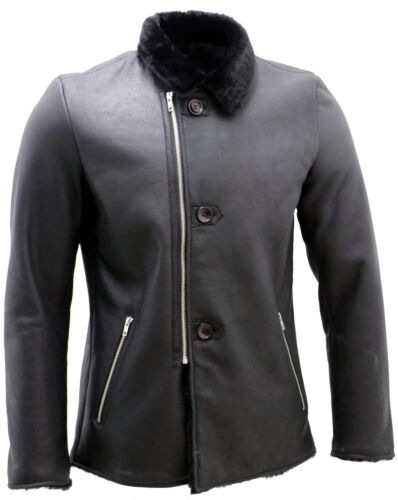 Mens Luxury Leather Black Aviator Merino Sheepskin Jacket