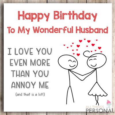 Funny Birthday Card for Husband from Wife Joke Birthday ...
