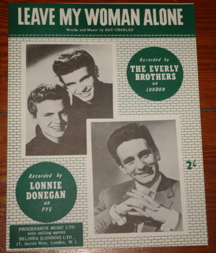 THE EVERLY BROTHERS ~ LONNIE DONEGAN ~RARE UK SONG MUSIC LYRIC SHEET 1959 ~ MINT