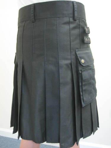 NEW BLACK UTILITY CARGO MODERN  Kilt Waist Sizes 30-52