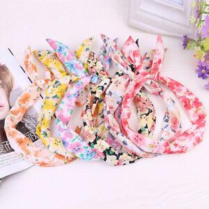 1-4-Pcs-cute-Baby-Maedchen-Blume-mit-floralen-Hasenohren-Haarband-F