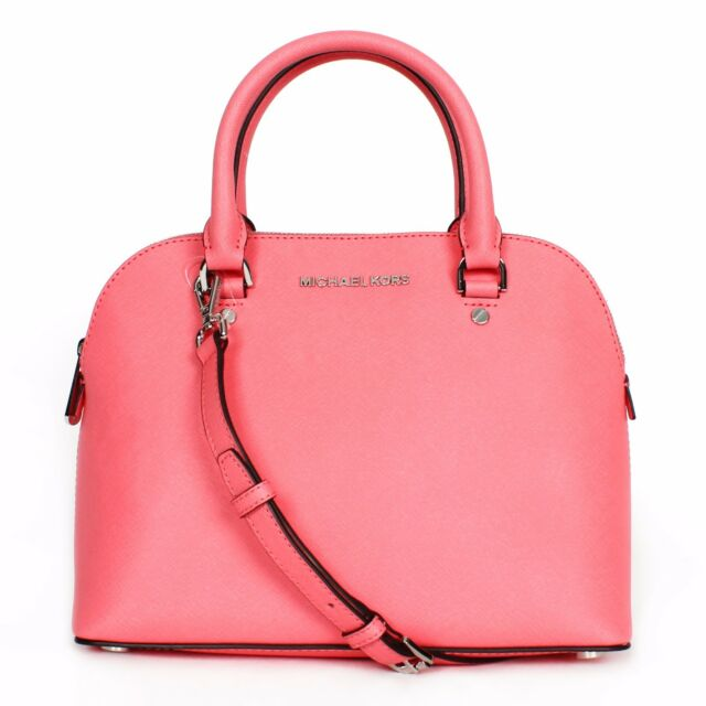 08599bb0714 Michael Kors Cindy Coral Pink Medium Leather Dome Satchel Purse 30s5scps2l