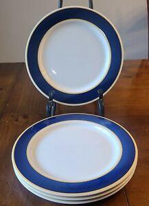 Set of 4 Fusions Sapphire & Honey Dinner Plates Nancy Calhoun EUC