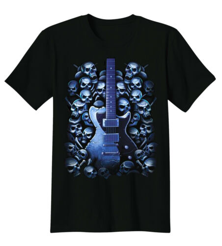 Guitar Blue Skulls Rock And Roll Music Gothic T-Shirt Tee