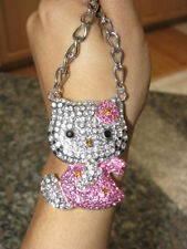 New X Large Hello Kitty Pink Crystal Crystal Bow & Pink Dress Silver Necklace