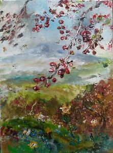 ORIGINAL-SIGNED-Hawthorn-Misty-Hill-signd-Wensleydale-DALES-OIL-PAINTING-CANVAS
