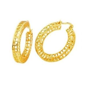 22K-Yellow-Gold-GP-Huggie-Aztec-20mm-Hoop-Earrings-E41