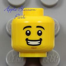 NEW Lego Smile MINIFIG HEAD -Boy/Girl Child/Kid Black Eyebrow Hair -Police Pilot