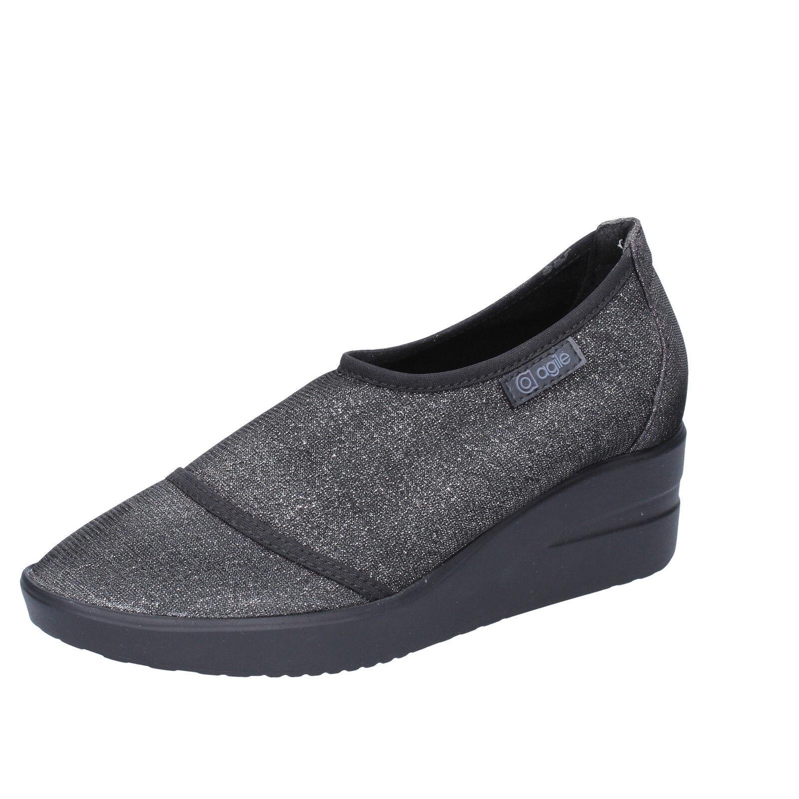 Para mujeres Zapatos ágil por Rucoline 7 () Resbalón En Negro Textil BT429-37