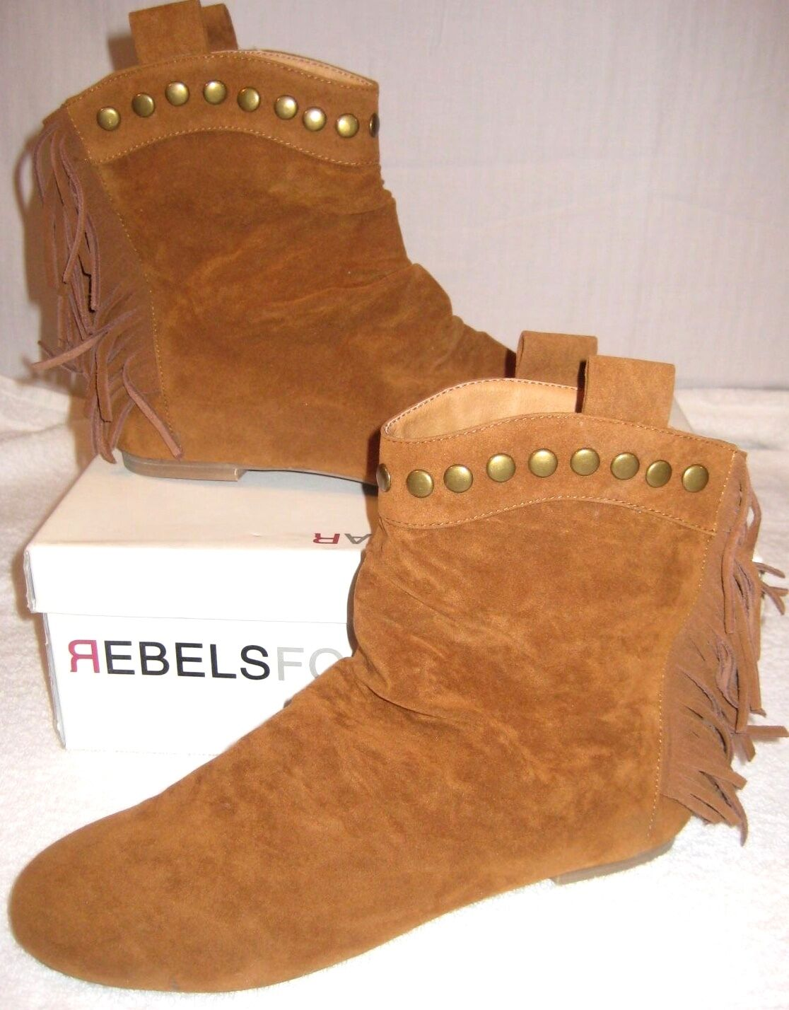 REBELS FOOTWEAR SALDANA FRINGE ANKLE BOOTIE  ~ BROWN TAN ~ SZ 8
