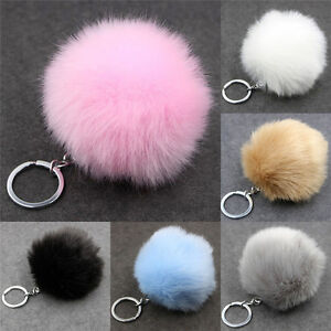 Silver  Metal Buckle Key Chain Faux Rabbit  Ball Pendant Bag Key Chain L N_N