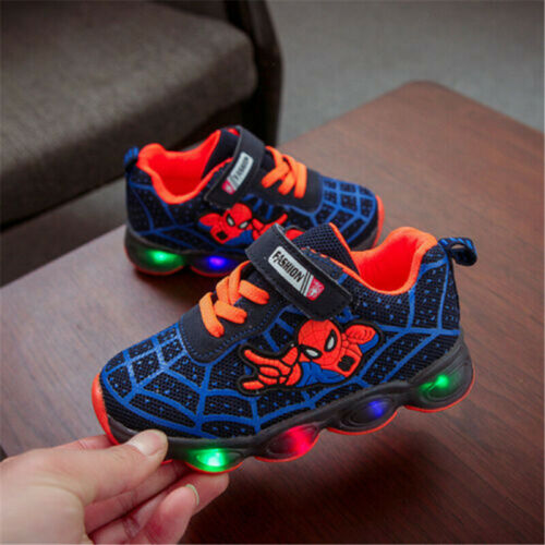Kids Boys Girls Spiderman LED Trainers Flashing Light Up Sports Sneakers Glowing