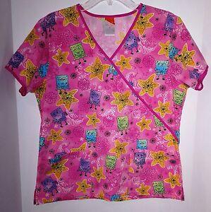 4dc3a07c54d Scrub Top M SpongeBob SquarePants Pink Mock Wrap Nickelodeon Prev ...