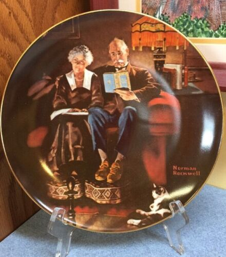 "Norman Rockwell 4th in Series Collector Plate ""Evening's Ease"" Knowles COA+Box"