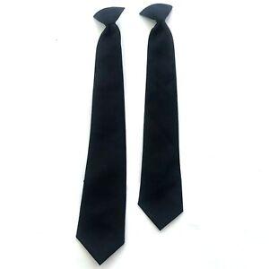 New Men Black Clip On Tie Security Tie Doorman Steward Matte Funeral Tie L4U2