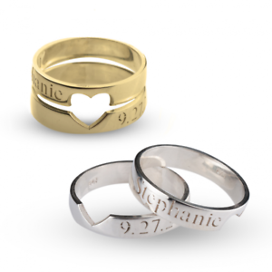 Details About Two Couple Rings Cut Out Heart Ring Personalized Rings Engraved Jewelry Love