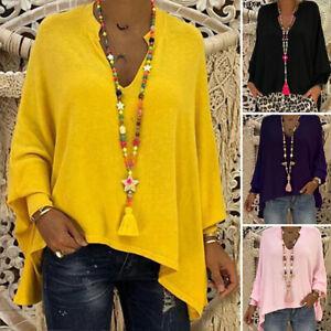 Women-Baggy-Loose-Asymmetric-Shirt-Blouse-V-Neck-Top-Tunic-T-Shirt-Oversized