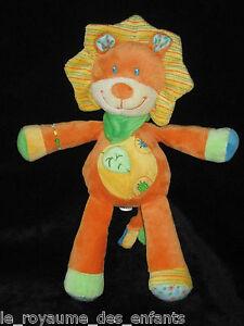 Doudou-Lion-orange-jaune-vert-Vetir-Nicotoy-Pommette-30-cm