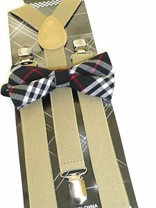 New Navy Blue Bow Tie and Tan Suspender set Tuxedo Formal Men/'s USA SELLER