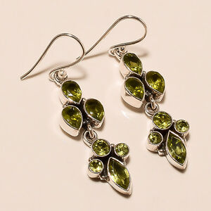 6-10-Gm-Natural-Peridot-Earrings-Fine-Earrings-925-Solid-Sterling-Silver-i-849