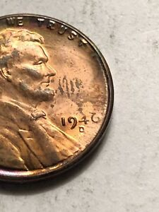 Details about 1946-D Lincoln Wheat Penny Obverse Struck Through Grease Mint  Error Coin Lot M21