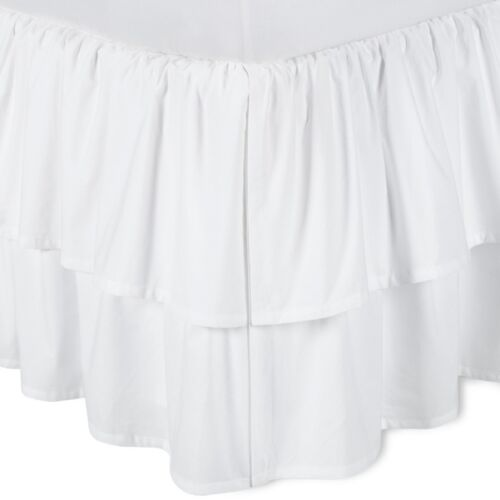 Four Sided White Solid Gathered Bed Skirt with Top Ruffle 800 TC SPLIT Corner