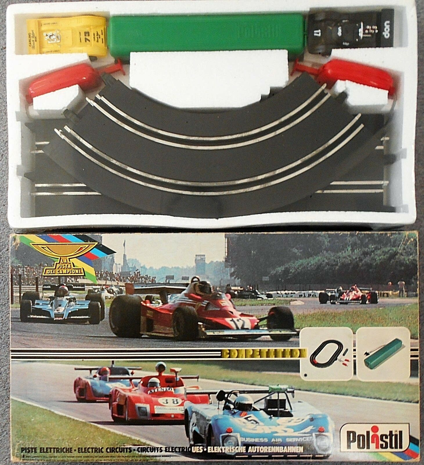 Polistil 1 43 UOP Shadow Can Am McLaren M8 Slot Car Set Factory Sealed from New