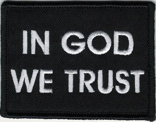 Gott Wir Vertrauen Christliche Schwarz Weiß Patch Klett Marke Haken Verschluss