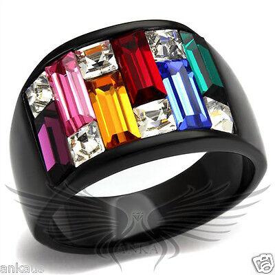Rainbow Top Grade Crystal Cocktail Black IP Fashion Ring 5 6 7 8 9 10 TK1397J