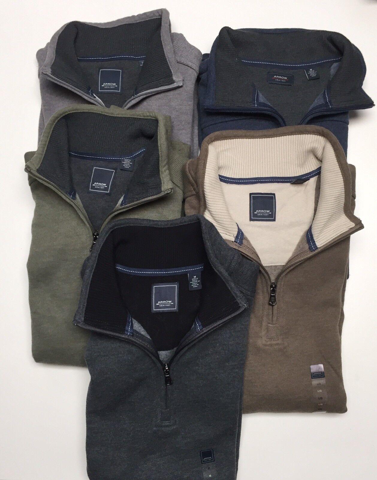 Arrow Men'S 1/4 Zipper Cotton-Poly Fleece Jumper Top S-M-L-XXL-4XL-5XL NWT