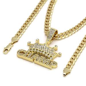 """Mens 14k Gold Plated Hip Hop OG Pendant Cuban Chain 6mm 24/"""" or 30/"""""""