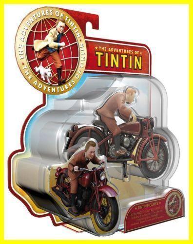 LES AVENTURES DE TINTIN Figurine TINTIN MOTO Plastoy