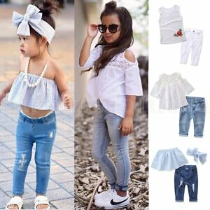 37d3fc9a5c93 Toddler Kids Baby Girls Outfits Clothes T-shirt Tops Dress+Jeans ...