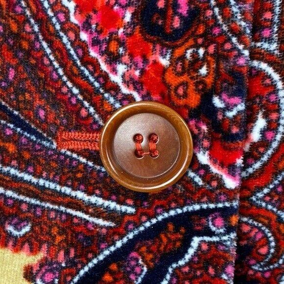 Talbots Paisley Stretch Velvet Red Blazer   70's … - image 6