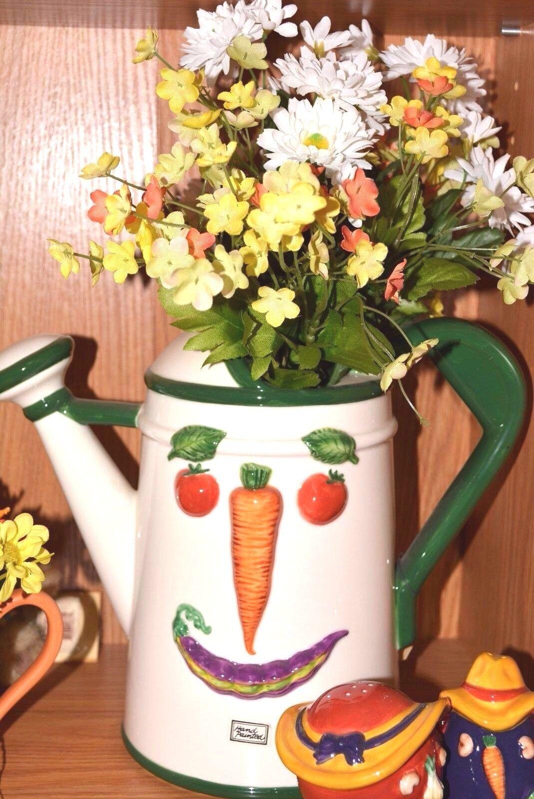 Department 56 32416 Watering GARDEN Can CERAMIC PITCHER Vegetable Healthy NEW