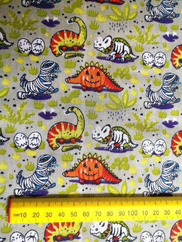 1M Grey Zombie Pumpkin Dinosaur Fabric Material Poly Cotton Patchwork Crafts