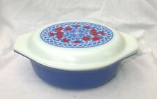 PYREX NEW HOLLAND BLUE RED TULIPS 1.5 QT OVAL CASSEROLE LID PROMOTIONAL 043
