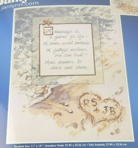 MARRIAGE-POEM-Counted-Cross-Stitch-Kit-Janlynn-11-034-x-14-034-Wedding-Gift-beach-sand