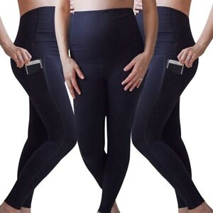 Mother-Maternity-Leggings-Pocket-Yoga-Sports-Trousers-Stretch-Pregnancy-Pa-he6
