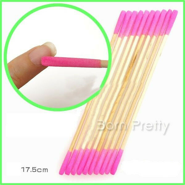 3Pcs Nail Art Slim Wooden Nail File Cuticle Remover Trimmer Buffer Manicure Tool